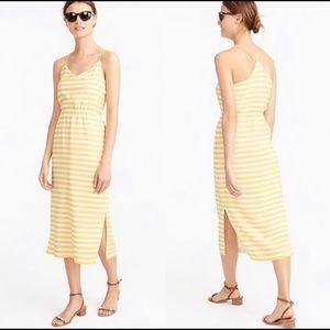 J Crew Silk Carrie Midi Dress Yellow White Stripe